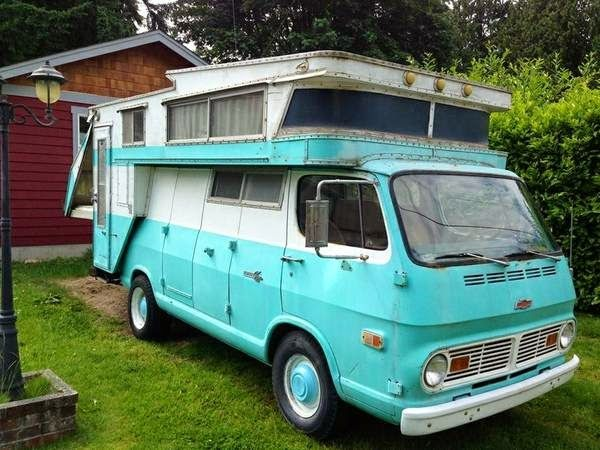 Uber Rare 1968 Kamp King Koach Van A Home Its Based On 68 Chevy 3 4 Ton With 307 And An AT Less Then 60K Original Miles Spent Most Of I