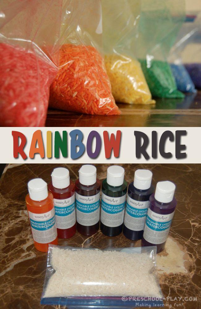 How to color rice, macaroni, and rock salt for sensory bins. Fun for preschool, pre-k, and kindergarten. #preschool #prek #kindergarten #homeschool #prekactivities #preschoolactivities #kidsactivities #sensorybin #rainbow #coloredrice #diy