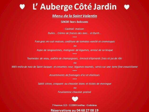 Notre menu spécial Saint Valentin... Venez vous régaler gastronomiquement en amoureux!