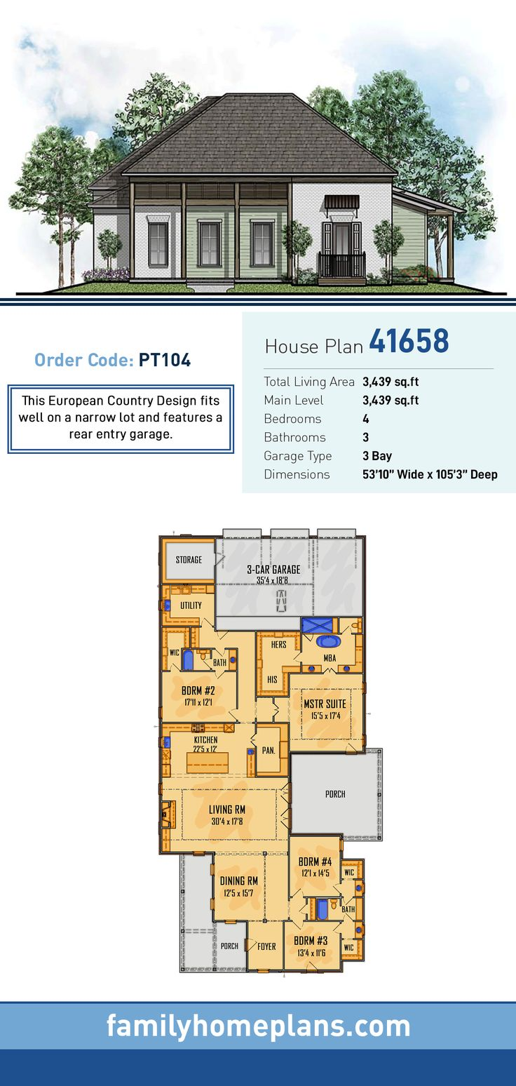 Country European House Plan 41658 1792 best