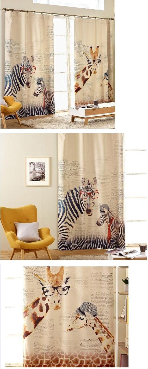 Рим затемненные шторы Корея зебра жираф мультфильм дети закончили роспись спальни шторы кухня занавес - Taobao