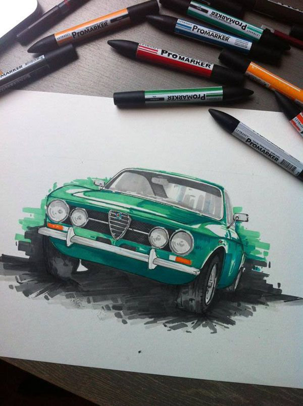Flashy Cars in Splashes of Colorful Marker