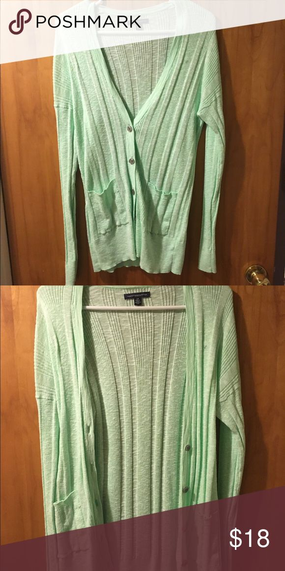 American Eagle mint cardigan EUC AEO mint cardigan. Worn only a couple times. American Eagle Outfitters Sweaters Cardigans