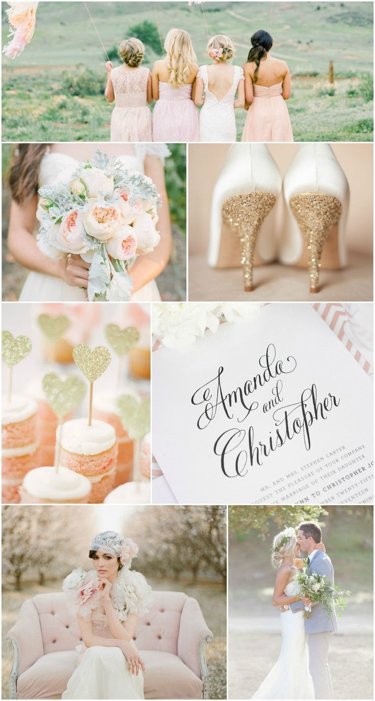 Blush and Gold Wedding Inspiration - Lace Keyhole Wedding Dress, Kate Spade Gold Glitter Heels, Blush Garden Rose Bouquet, Gray Suit, Gold Hearts, Vintage and Rustic Calligraphy Wedding Invitations