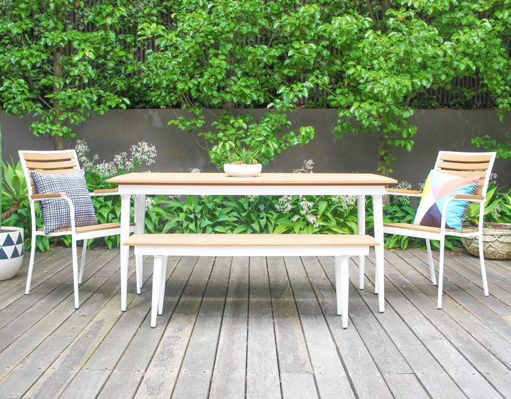 Leif 6 Seater Outdoor Table, 2 Mika Benches And 2 Klara Chairs Package    White