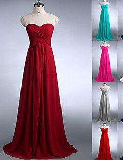 dama de honra vestido longo de chiffon uma linha vestido de namorada