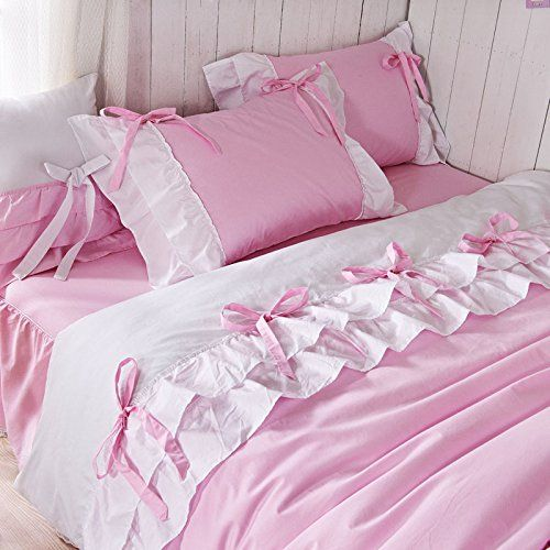 White Ruffle Princess Bedding Set Pink Bow