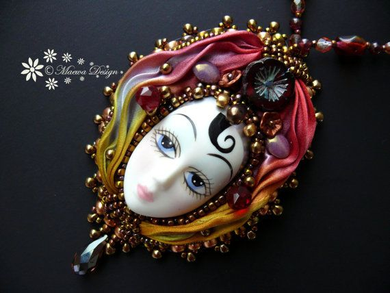 Bead embroidered Pendant necklace Shibori silk ribbon faceted Beadwork Vintage Porcelain Doll Face Ebw Team Ebeg seed beaded jewelry Ooak on Etsy, $132.34 AUD