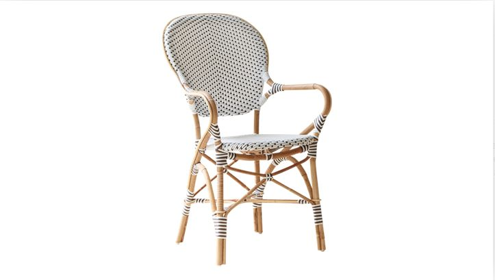 The Isabell chair  perfect for covered areas outside in summertime and for indoor use. The chairs can stand a rain shower, but not daily rain. When used outdoors the rattan frame will turn greyish like teak.