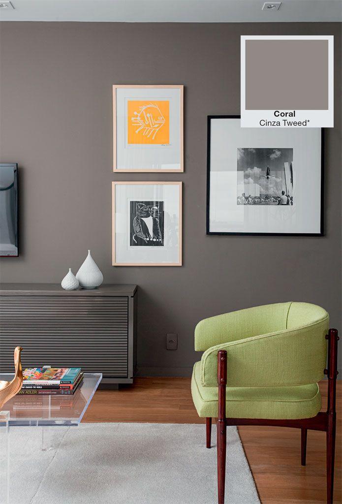 Novas tintas: paredes mais limpas, impermeáveis e sem fissura - Casa. Coral - Cinza Tweed.