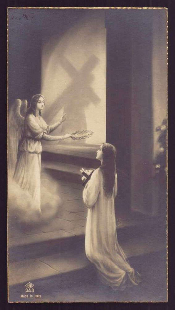 GIRL w/CROSS & LILIES, ANGEL w/ THORNS, JESUS CARRYING CROSS Old 1935 HOLY CARD
