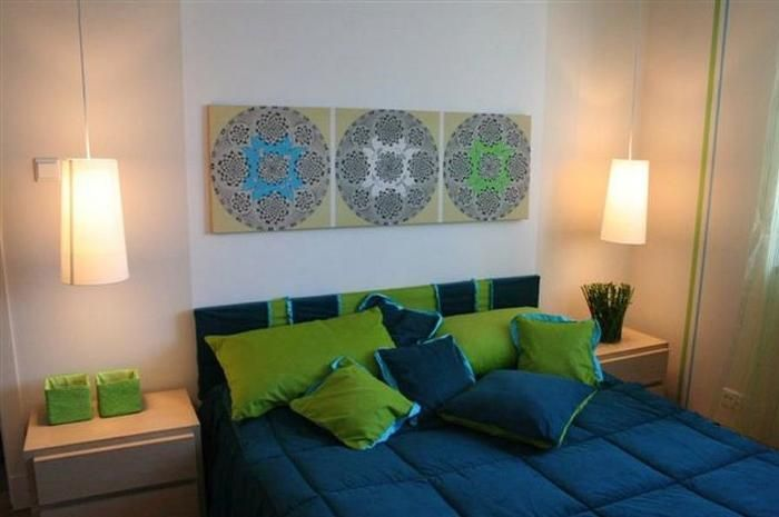 Aranżacja sypialni wystrój nowoczesny w kolorach niebieski, zieleń - projekt wnętrza #6153804, Homplex