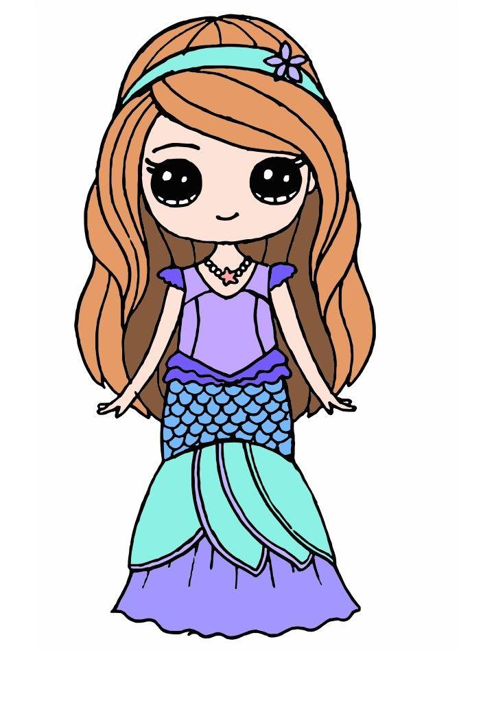 Sirena Kawaii Sirena Dibujos Faciles