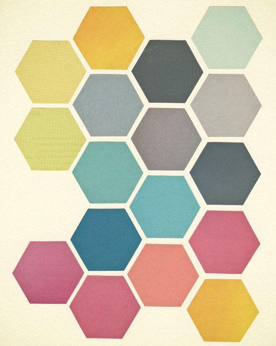 Retro Wandkunst, geometrische Kunstdruck, Hexagon-Muster, Rosa, blaugrün, Charcoal Grey, powderblue, Giclée-Druck, Pastels - Waben II