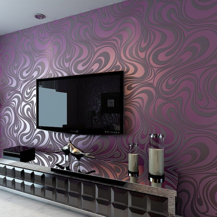 Purple Patterned Wall Designs Tiled Floor Large Tv Cabinet Under Tv Accent Wall Living Room Decor Inspiration Accent Walls In Living Room