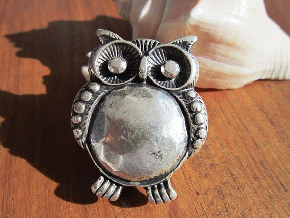 Large Big Belly owl slider spacer finding silver color for leather cord on Etsy, $4.60 Super nice metal !!!❤️