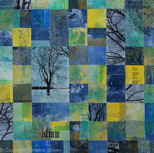 Blue Landscape - Mixed Media Collage