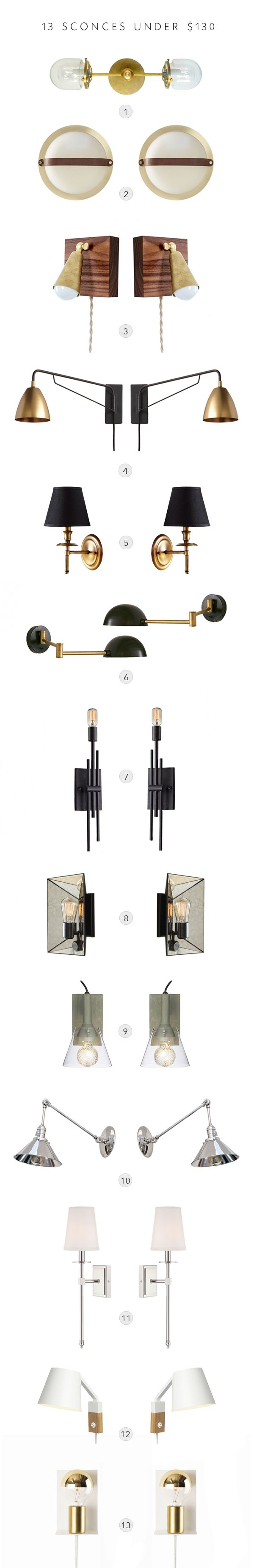 13 sconces under $130 (and most for less!) // lighting roundup from coco+kelley