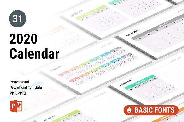 Calendar 2020 For Powerpoint Presentation Design Template Keynote Template Infographic Powerpoint