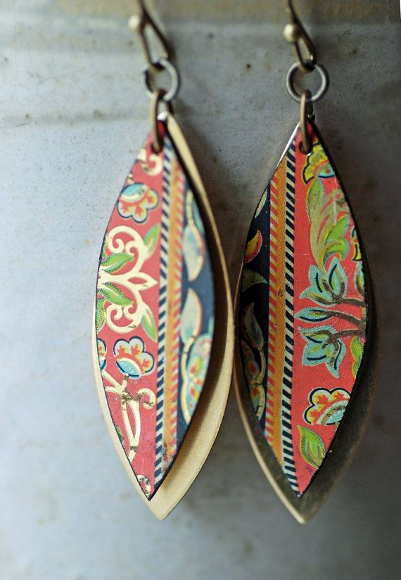 Vintage Tin Earrings Boho Chic Recycled Jewelry by EntwyneDesigns