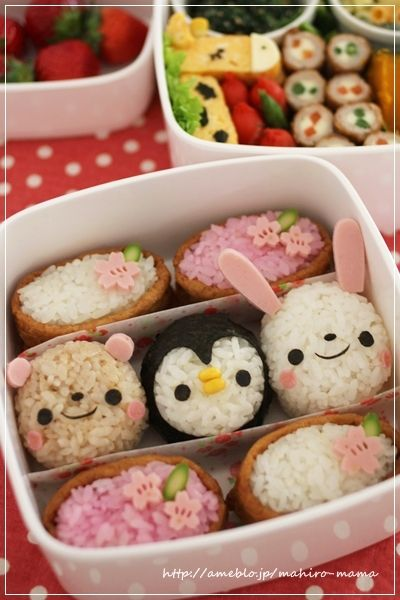 Picnic Bento Box for Spring (Animal Face Onigiri, Tofu Pocket Inari Sushi with Ham Sakura Flower, Egg Omelet Giraffe), by momo