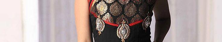 Black Faux Georgette Churidar Anarkali kameez with Dupatta Online Shopping: SLKBR177