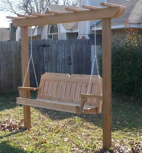 Amazing New Cedar Wood Garden Arbor U0026 5 Ft Porch Swing Stand Heavy Duty Chain U0026  Springs