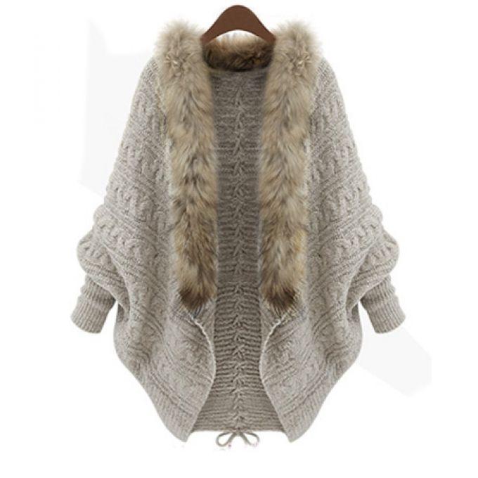 Gilet cardigan hiver & fausse fourrure beige - bestyle29.com