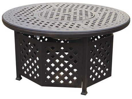 Darlee Outdoor Living Series 30 Antique Bronze Cast-Aluminum 48 Round Propane Fire Pit Chat Table