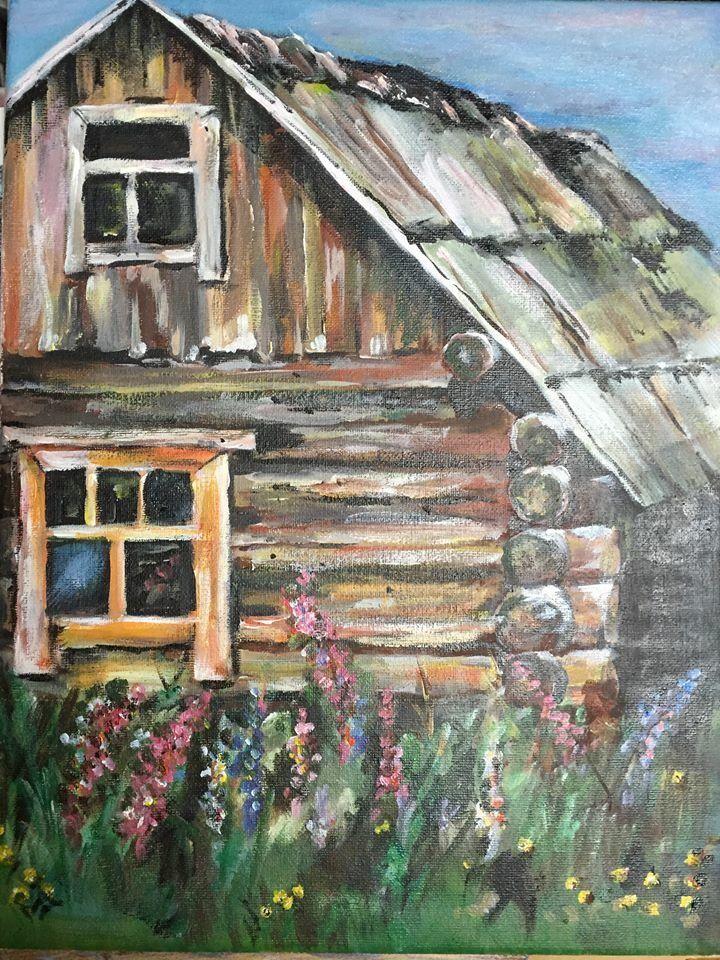 Old house. Oil painting. Art. Karjala.