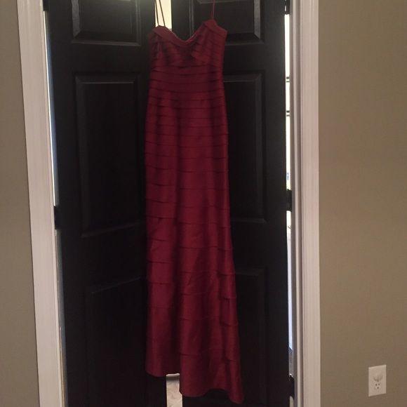 BCBG to the floor Crimson dress Beautiful size 2 BCBG Crimson dress. Worn few times. BCBG Dresses Strapless