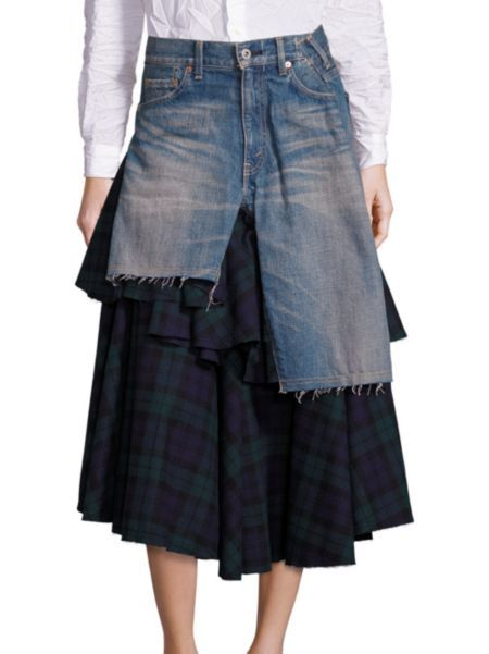 Junya Watanabe - Ruffled Plaid & Denim Skirt