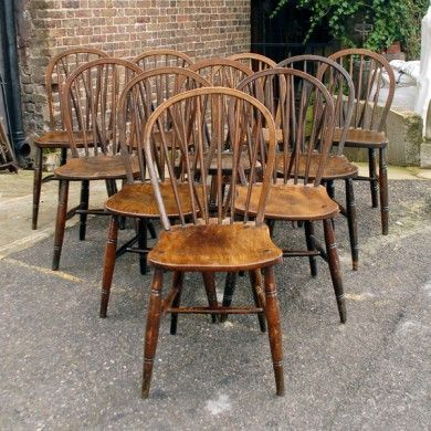 A matched set of ten hoop back Windsor chairs