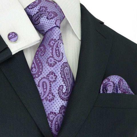 Purple Paisley Toramon Silk Tie Set JPM60G – Toramon Necktie Company