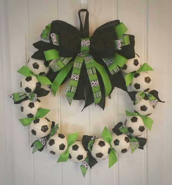 Check out this item in my Etsy shop https://www.etsy.com/listing/276756954/soccer-wreath-perfect-soccer-futbol
