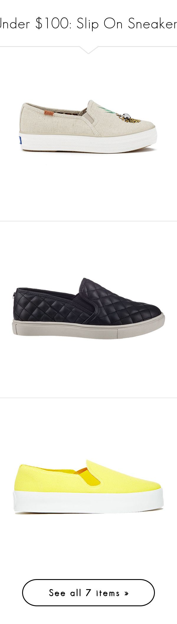 """""""Under $100: Slip On Sneakers"""" by polyvore-editorial ❤ liked on Polyvore featuring under100, sliponsneakers, Keds, Steve Madden, Vans, Our Family, Opening Ceremony, shoes, sneakers and beige"""