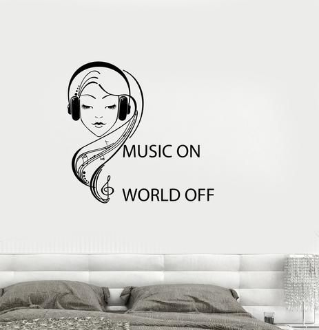 Vinyl Decal Quote Teen Girl Room Music Headphones Musical Wall Sticker Mural (ig2746)