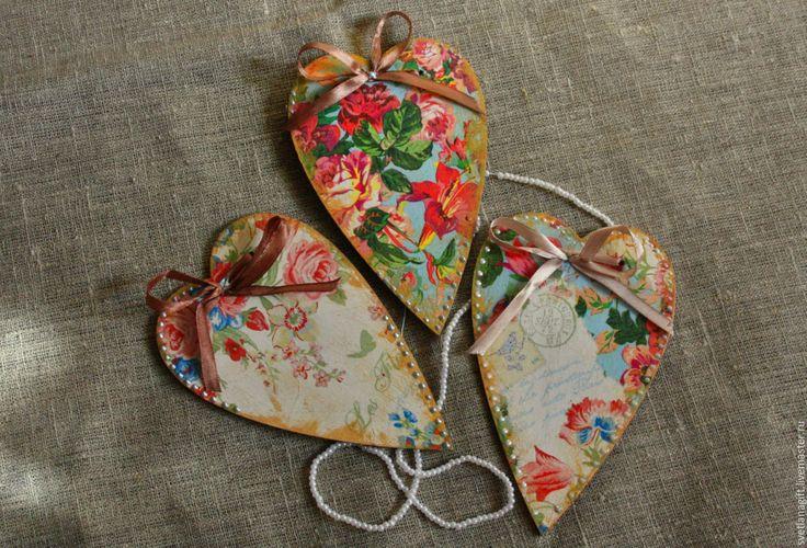 Купить сердечки-сувенирчики - сердечки, винтаж, Декор, панно, интерьер, салфетки декупажные, заготовка из дерева