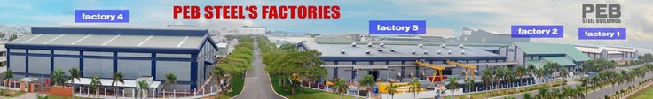 4 factories of PEB Steel Buildings in a photo, consits of 2 Main frame, 1 Structural Steel, and 1 Roll forming.