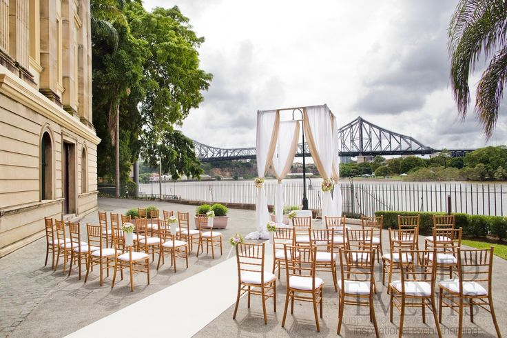 OUTDOOR NUPTUALS Styled Events at Customs House [Marcus Bell - Studio Impressions Photography] #styledevents #brisbaneevents #weddings #eventstyling #outdoorceremony