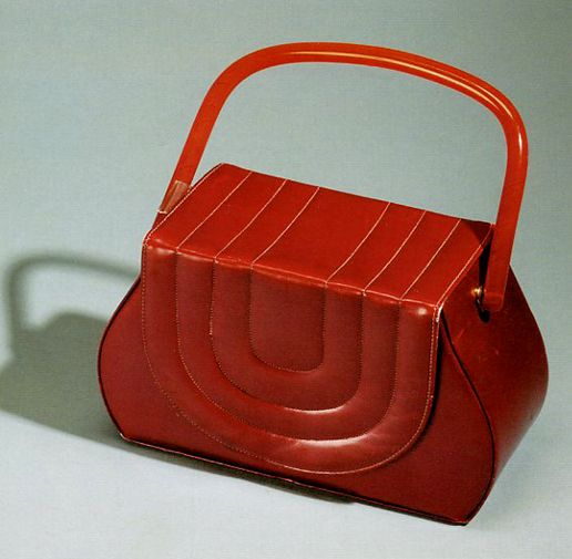 1940s Corde - flap closure red leather handnag