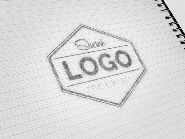 Free Sketch Logo MockUp PSD 632 MB  Freedesigns