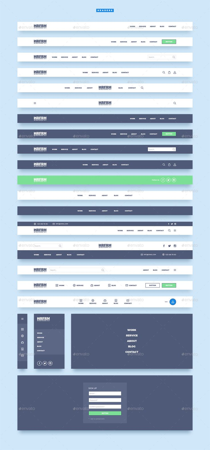 WRFRM – Wireframe Kit by laaqiq | GraphicRiver