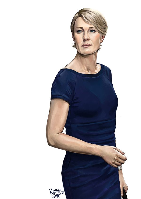 Claire Underwood from Netflix series House of Cards. Portrayed by stunning Robin Wright.  Painted in 2015.