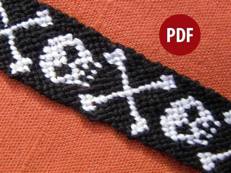 Plunder Skull Friendship Bracelet Tutorial here: http://friendship-bracelets.net/im/gen/normal/255.gif