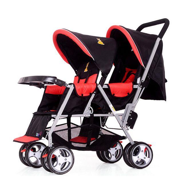 Azul A Cuadros Rojos Gemelos Cochecito De Bebé Cochecito Plegable Carritos De Bebé Coches Para Bebes Cochecitos De Bebé Gemelos