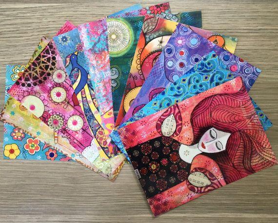 POSTCARDS SET of 10  mini prints of original by MrsButtonsEmporium