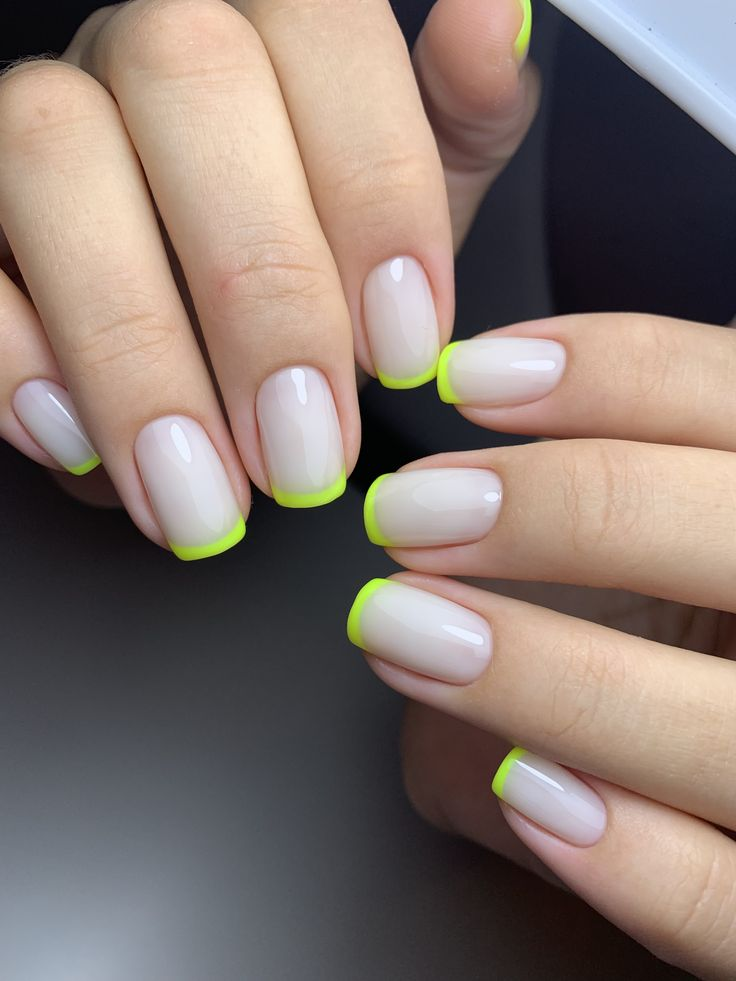 #neon #french #gelnails #amazing #nailsart #nails | Pretty ...