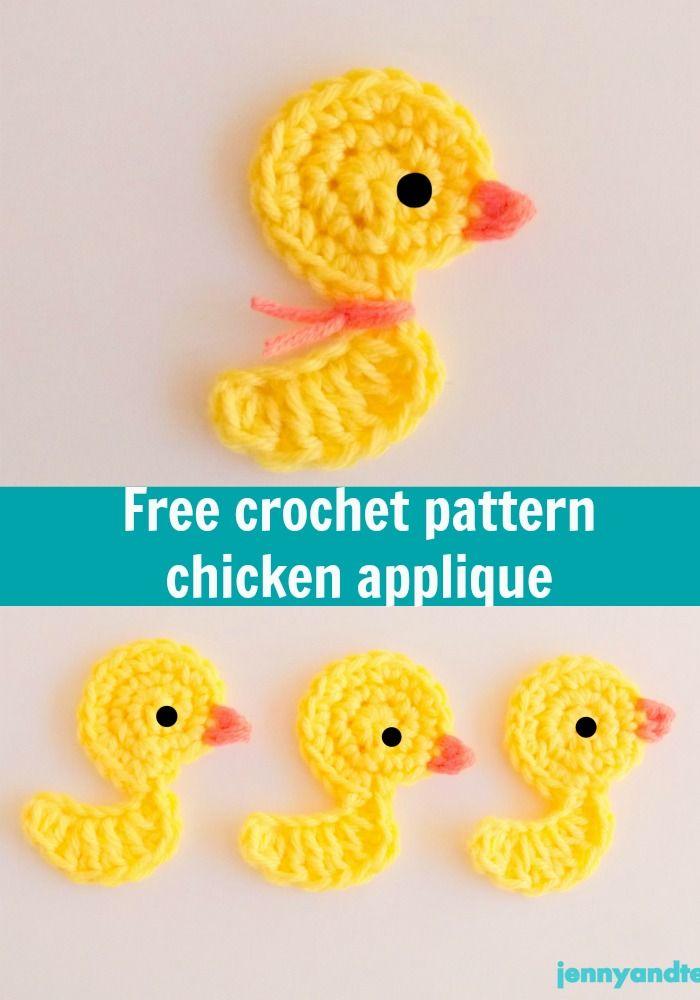 chicken or duck crochet applique free pattern, thanks so xox ☆ ★   https://uk.pinterest.com/peacefuldoves/