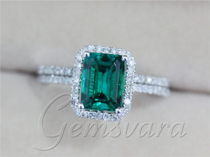 DISCOUNT Two Rings 2.33ct Emerald Diamond 14K White Gold Engagement Wedding Rings with Matching Band Jewelry-in Rings from Jewelry on Aliexpress.com   Alibaba Group